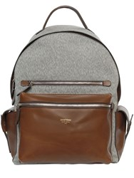 Bertoni 1949 Cotton Blend And Leather Backpack