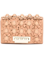 Zac Posen Flower Embellished Clutch Nude Neutrals