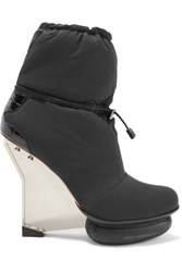 Y 3 Adidas Originals Arkque Leather Trimmed Shell Ankle Boots Black