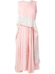 Sportmax Striped Panel Pleated Dress Pink