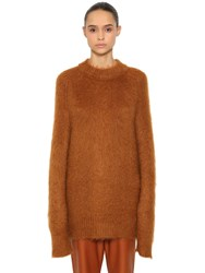 Jil Sander Oversized Mohair And Silk Knit Sweater Brown