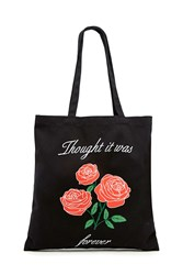 Forever 21 Roses Graphic Tote Bag Black Multi