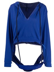 Unravel Project Cut Out Hoodie Blue