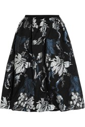 Erdem Halyn Pleated Metallic Jacquard Skirt Black