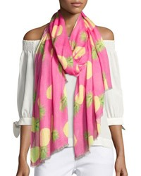 Neiman Marcus Pineapple Scattered Scarf Pink Green