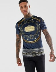 River Island Velvet T Shirt With Luxe Gold Print In Navy