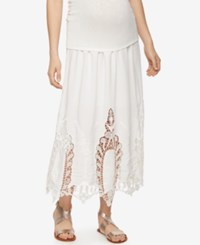 A Pea In The Pod Maternity Crochet Trim Maxi Skirt Off White