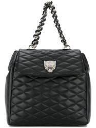 Philipp Plein Quilted Backpack Calf Leather Polyester Black