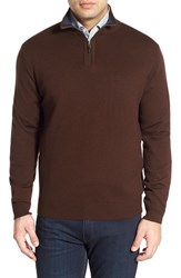 Thomas Dean Men's Regular Fit Quarter Zip Merino Wool Sweater Brown