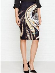 Just Cavalli Feather Print Pencil Skirt Black