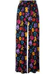 Love Moschino Multiple Prints Straight Trousers Black