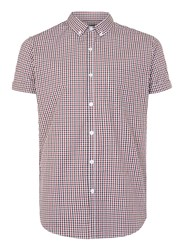 Topman Red White And Black Gingham Short Sleeve Smart Shirt Blue