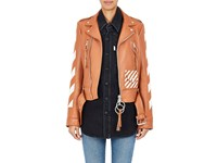 Off White Women's Woman Leather Moto Jacket Brown
