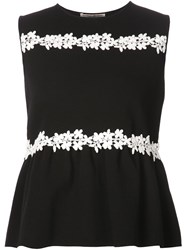 Giambattista Valli Floral Embroidered Tank Top Black