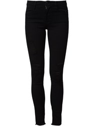 Frame Denim Ripped Skinny Jeans Black