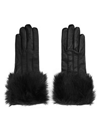Reiss Robyn Womens Faux Fur Detail Gloves In Black
