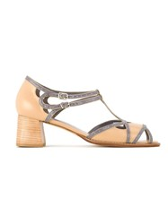 Sarah Chofakian Bicolor Heeled Sandals Nude And Neutrals