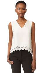 Jenni Kayne Scallop V Neck Shell Top Ivory Navy