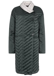 Isabel Marant Howell Teal Quilted Silk Coat Grey