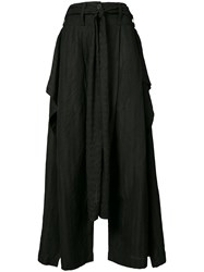 Barbara I Gongini Draped Wide Leg Trousers Women Cotton 36 Black