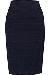 Herve Leger Bandage Mini Pencil Skirt Midnight Blue