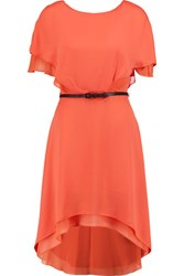 Halston Heritage Belted Crepe De Chine Mini Dress Coral