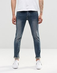Only And Sons Jean In Stretch Slim Fit Vintage Wash Mid Blue Denim