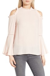 Chelsea 28 Women's Chelsea28 Ruffle Edge Cold Shoulder Blouse Pink Dust