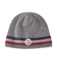 Moncler Logo Striped Cashmere Beanie Hat Gray