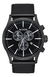 Nixon Men's The Sentry Chronograph Leather Strap Watch 42Mm Black