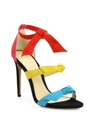 Alexandre Birman Mary Bow Colorblock Suede Sandals Capri Mango