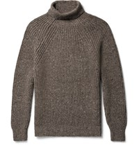 Inis Meain Ini Ribbed Melange Merino Wool And Cahmere Blend Rollneck Weater Brown
