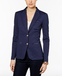 Tommy Hilfiger Striped Two Button Blazer Navy Ivory