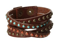 Leather Rock B339 Vintage Brown Turquoise Coral Bracelet