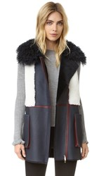 Diane Von Furstenberg Shearling Vest Navy White Orange