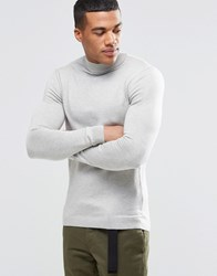 Asos Muscle Fit Turtleneck Sweater In Cotton Gray Marl