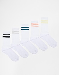 Urban Eccentric Sports Style Crew Socks In 5 Pack Multi
