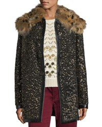 Marc Jacobs Hammered Sequin Coat With Fur Collar Black Gold