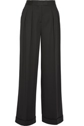 Dkny Pleated Stretch Twill Wide Leg Pants Black
