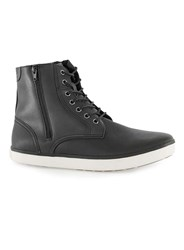 Topman Black Faux Leather Tall Zip Boots
