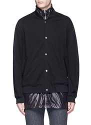 3.1 Phillip Lim Nylon Shell French Terry Bomber Jacket Black