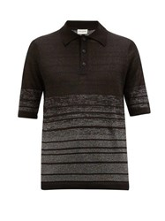 Saint Laurent Lurex Striped Linen Blend Knit Polo Shirt Black Silver
