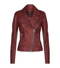 Set Leather Biker Jacket Female Red