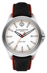 Baume And Mercier Clifton Leather Strap Watch 42Mm White Black