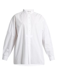 Mes Demoiselles Kamisa Stand Collar Cotton Voile Shirt White