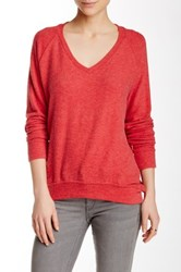 Velvet By Graham And Spencer Madealena Cozy Jersey V Neck Sweater Red