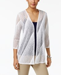 Jm Collection Pointelle Open Front Cardigan Only At Macy's Bright White