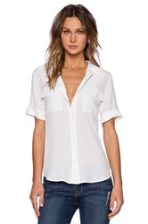 Equipment Slim Signature Short Sleeve Blouse White