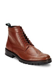 Bugatchi Italian Leather Lace Up Shoes Brown