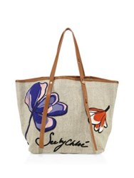 See By Chloe Andy Embroidered Linen Tote